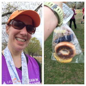Post-Race with the bag of food they gave us all