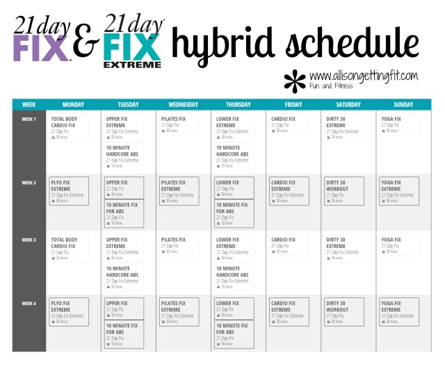 21 Day Fix and 21 Day Fix Extreme hybrid